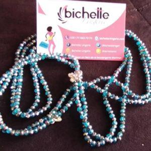 Ceinture en perles/ Bine-Bine Amy Bleu Argent