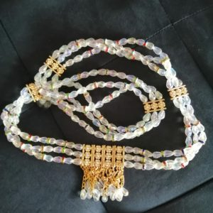 Ceinture en perles/ Férr Cravache de Minuit Blanc OR
