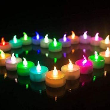4 Bougies Décoration LED Multicolores