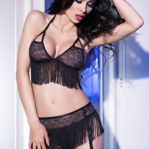 Ensemble Sexy 3 pièces avec Franges Chilirose Noir M