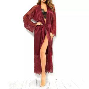 Long Kimono en Soie et Dentelle Rouge Taille M