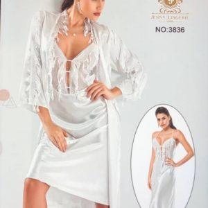 Nuisette Sensuelle + Déshabillé Divine Blanc XL