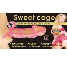 Anneau Vibrant avec Cage à Pénis SWEET CAGE SLEEVE COCK RING