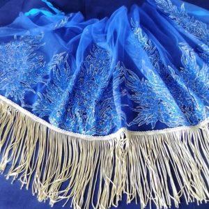 Petit Pagne Maxi Effet Merveille Bleu avec Frange Beige