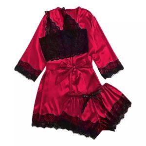 Ensemble 2 pièces + Kimono Rouge