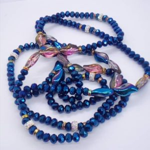 Bideew 2 Ceintures de Perles Bleu